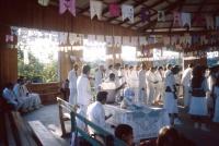 Men and women dancing in church